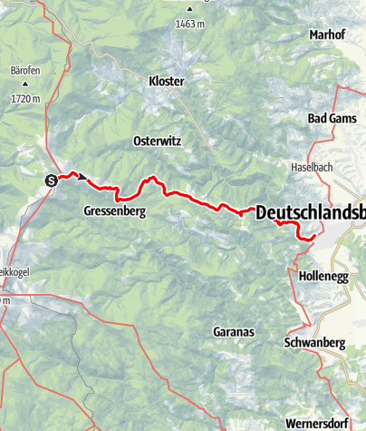 Karte / Etappe 18 Vom Gletscher zum Wein Südroute Glashütten - Deutschlandsberg