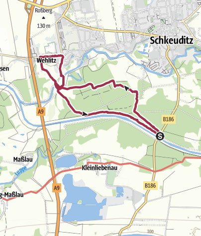 Map / Mit Hund entlang der Neuen Luppe nach Wehlitz