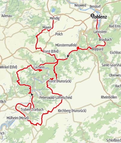 Karte / Eifel Motorradtour: Von Rhein, Mosel, Hunsrück und Eifel