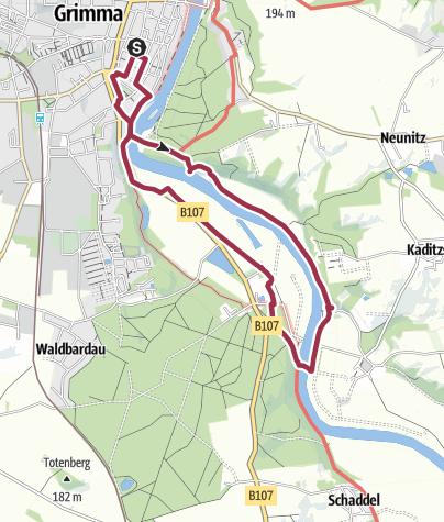 Karte / Von Grimma zur Schiffsmühle entlang der Mulde...
