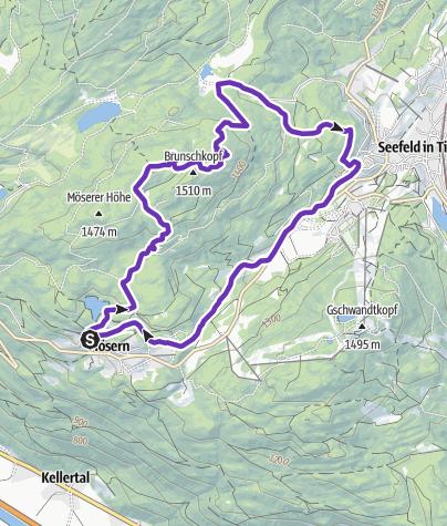 Karte / Mösern-Brunschkopf-Wildmoos-Seefeld-Mösern