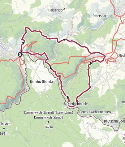Karte / Rundwanderung Saigerhütte - Seiffen - Oberlochmühle - Saigerhütte