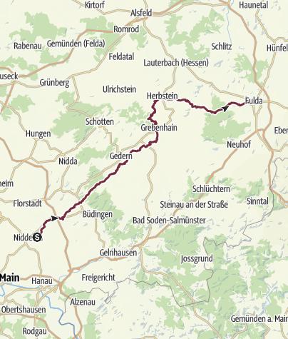Karte / Vulkanradweg Nidderau nach Fulda