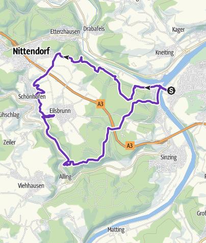 Map / Trails westlich von Regensburg
