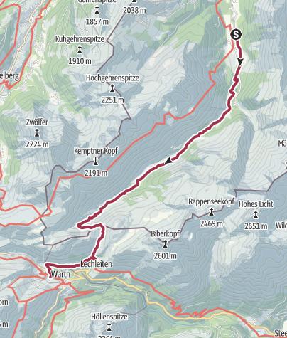 Karte / Birgsau - Schofenpass - Warth