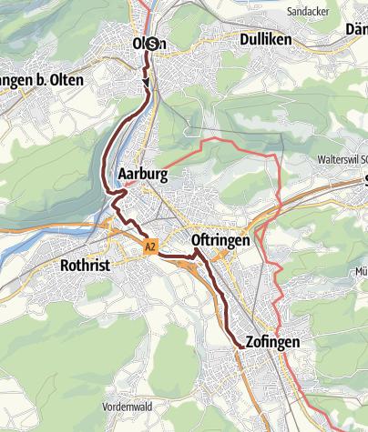 Karte / Tagespilgern 2019 Etappe 4 Olten - Zofingen