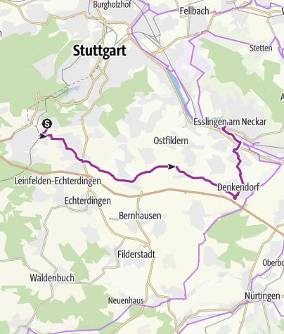 Karte / Kaltental radelt #33: Durchs Körschtal nach Esslingen