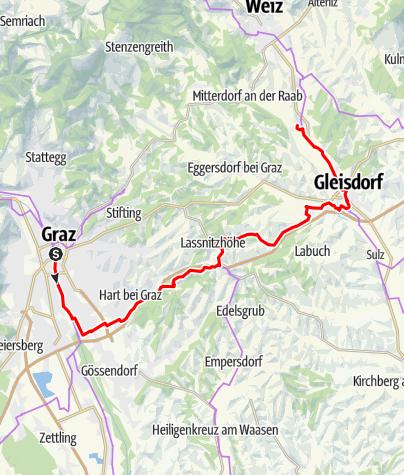 Karte / Etappe 04 Weinland Steiermark Radtour Graz - St. Ruprecht an der Raab