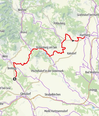 Karte / Etappe 05 Weinland Steiermark Radtour St. Ruprecht an der Raab - Hartberg