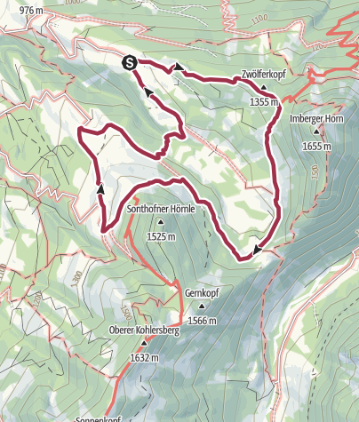 Karte / Rundwanderung beim Imberger Horn