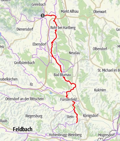 Karte / Etappe 06 Weinland Steiermark Radtour Hartberg - Loipersdorf