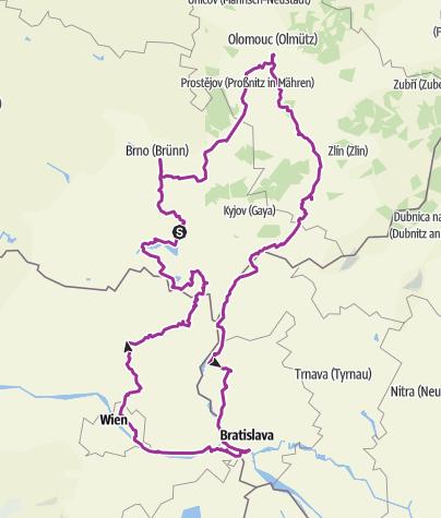 Karte / 7_Brno - Olomouc - Bratislava - Wien