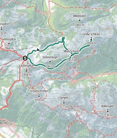 Karte / Gipfeltour vom Füssener Jöchle zur Kleinen und Großen Schlicke