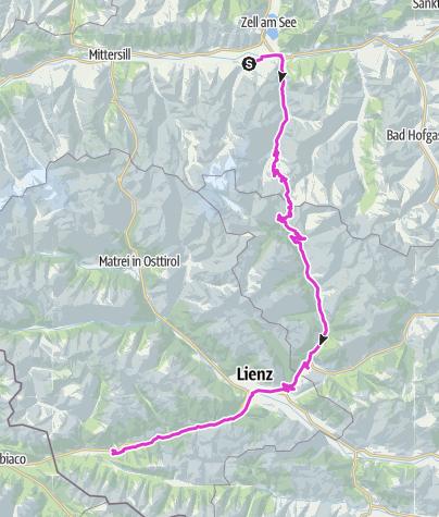 Karte / Tag 2: Hohe Tauern, Heiligenblut am Großglockner, Lienz, Pustertal