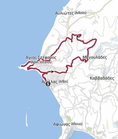 Karte / Корфу. Прогулка по круговому маршруту от Arillas к Agios Stefanos