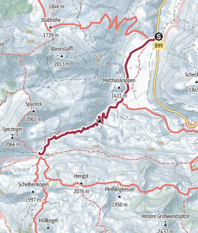 Karte / Wanderung zur Südwiener Hütte von der Busstation Gnadenalm