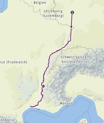 Karte / Freiburg - Avignon (Eltern)