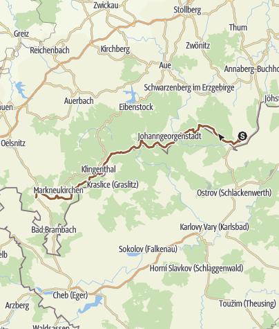 Karte / WDE: Erzgebirge und Vogtland von Oberwiesenthal nach Adorf