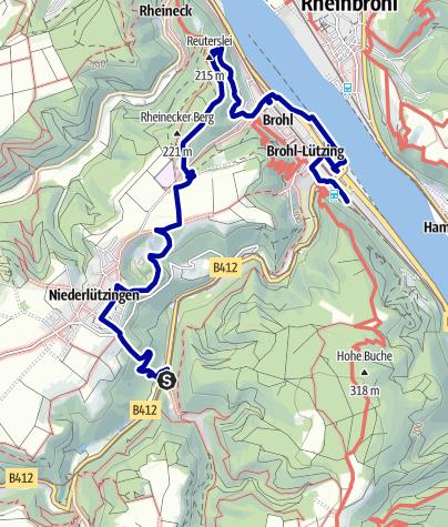 Karte / Auf dem Katharinaweg unterwegs: vom Bahnhaltepunkt Schweppenburg über die Reutersley nach Brohl