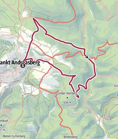 Karte / Rundweg St.Andreasberg-Rinderstall über Lochchaussee hin und Schachtelkopf zurück