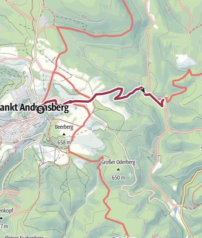 Karte / Kürzester direkt Weg aus St. Andreasberg zum Rinderstall