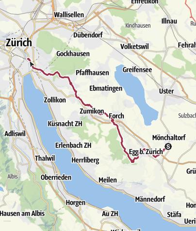 Mapa / Mönchaltdorf - Pfannenstiel - Forch - Zürich HB