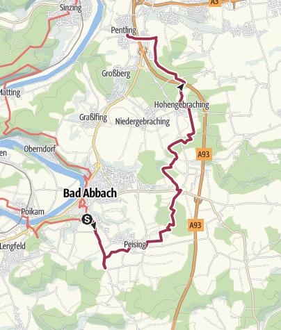 Karte / Bad Abbach - Frauenbrünnl - Keltenschanze - Hohengebraching - Pentling