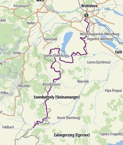 Karte / Iron Curtain Trail - Gesamtverlauf Burgenland und Ungarn