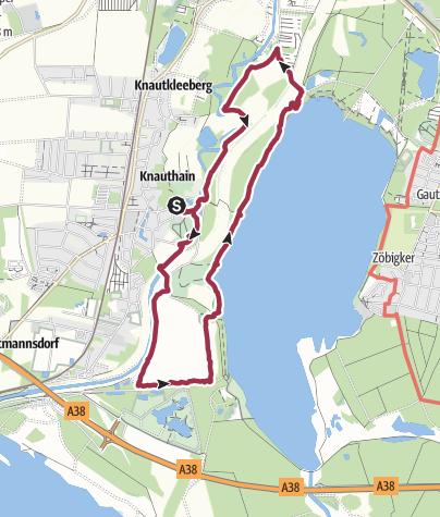 Map / Wanderung mit Hund: Knauthain - Elsterstausee - Cospudener See