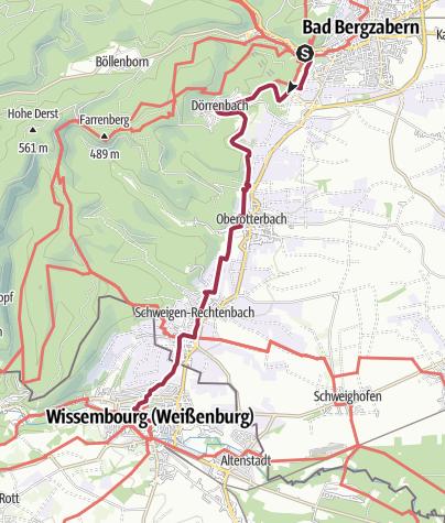 Karte / Von Bad Bergzabern nach Wissembourg, 12 Kilometer, einfach/mittel.