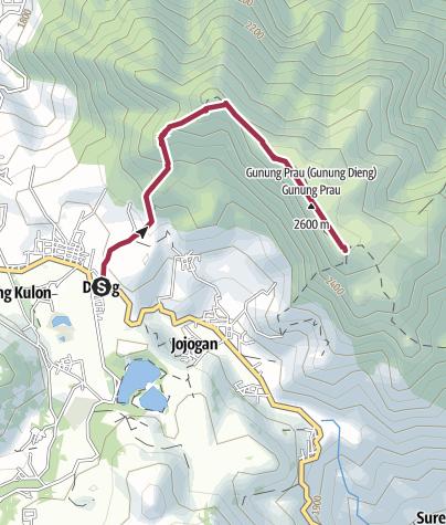 Map / Mount Prau via Dieng Wetan, Central Java, Indonesia