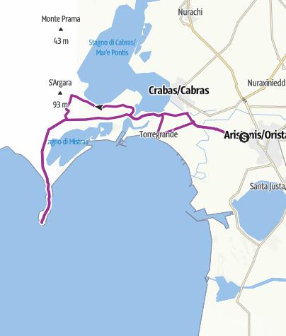 Cartina / Da Oristano alla penisola del Sinis