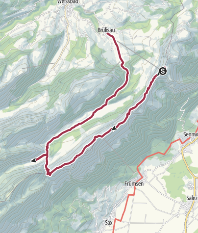 Map / Hoher Kasten to Brulisau via Saxer Lücke and Fälensee
