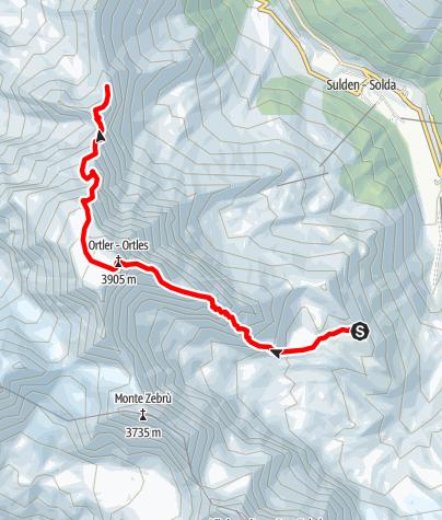 Karte / Ortler (3.905 m) über den Hintergrat