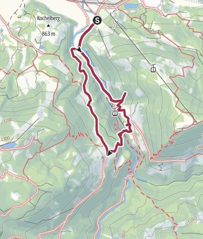 Karte / Wanderung nach Graseck - Eiserne Brücke Partnachklamm - Partnachalm