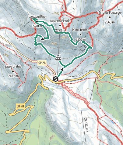 Cartina / Rifugio Lagazuoi per il sentiero dei Kaiserjäger e le gallerie degli alpini