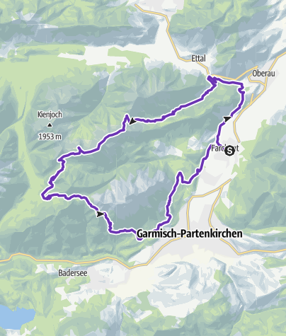 Karte / Trailrunning-Tour von Farchant über Brünstelkopf und Felderkopf