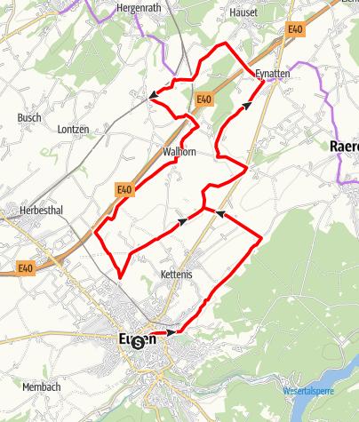 Kaart / Fietsroute - Het land van Eupen