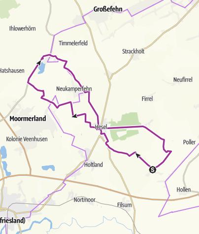 Karte / Ostfriesland: Lammertsfehn-Hesel-Jheringsfehn-Timmel-Hesel-Lammertsfehn