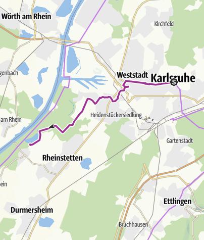 Karte / Kleine Radtour Karlsruher Schloss - Fermasee Neuburgweier