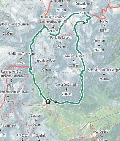 Cartina / Dal Rifugio Gardeccia al Rifugio Antermoia: un giro ad anello sul Catinaccio