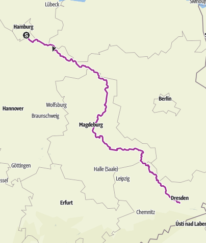 Map / ELBE RADWEG Hamburg - Dresden
