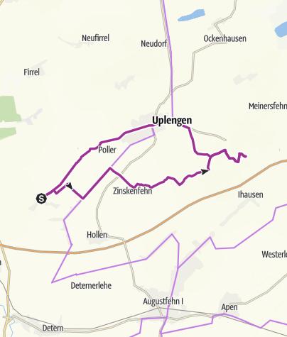 Karte / Ostfriesland: (Variante 2) Lammertsfehn-Jübberde-Großsander-Remels-Lammertsfehn