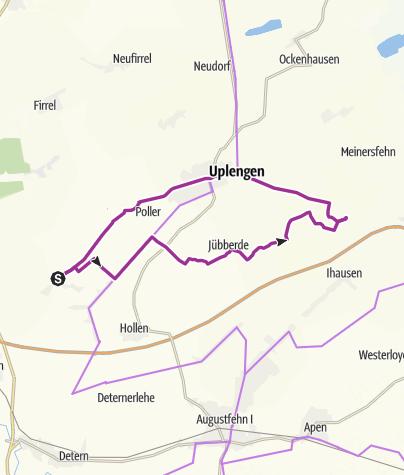 Karte / Ostfriesland: (Variante 1) Lammertsfehn-Jübberde-Großsander-Remels-Lammertsfehn