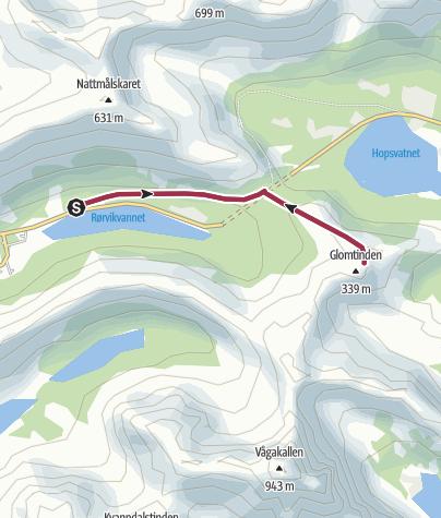 Karte / Auf den Glomtinden über Kalle