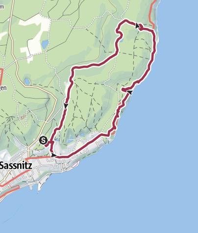 Karte / Entlang des Hochufers in Jasmund - Von Sassnitz zur Waldhalle