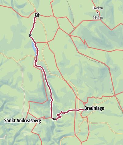 Karte / Von Torfhaus über den Oderteich ins Odertal nach Braunlage