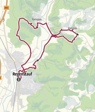 Karte / Burgensteig Regenstauf - Karlstein - Ramspau - Regenstauf