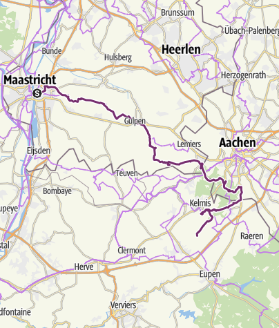 Map / Maastricht-Lontzen (bike tour, day 1/4)
