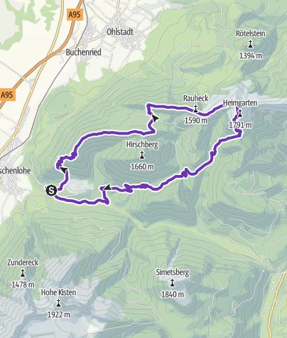 Mapa / Wild Ridge Loop - 6 Gipfel / 21k